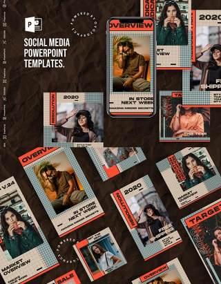 大气简洁手机竖版社交媒体杂志PPT版式模板Social Media PowerPoint Template