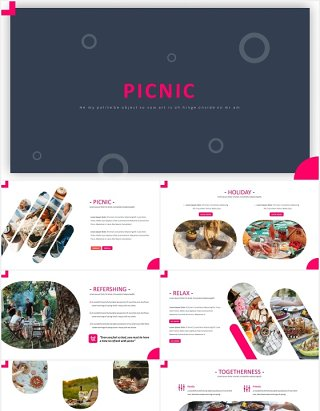 户外旅游野餐国外PPT模板Picnic Powerpoint Template