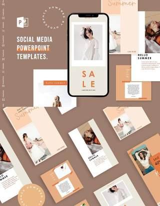 时尚简洁手机竖版社交媒体PPT模板Social Media PowerPoint Template