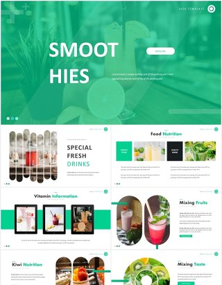 绿色圆角圆形饮品图片排版国外PPT模板Smooth Hies Template
