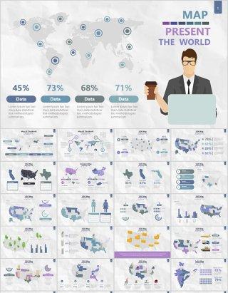 世界地图PPT模板信息可视化素材Map Presentation