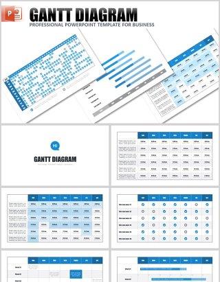 甘特图PPT信息图表模板gantt chart powerpoint template