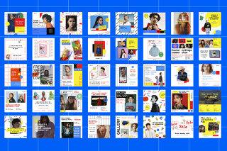 120个创意孟菲斯风格几何广告设计海报PSD素材图文排版模板(源文件不含人物照片)