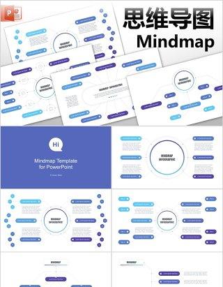 思维导图PPT模板信息可视化图表mindmap powerpoint template