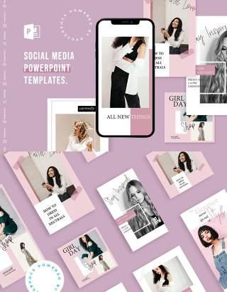 欧美风简洁手机竖版社交媒体PPT模板Social Media PowerPoint Template