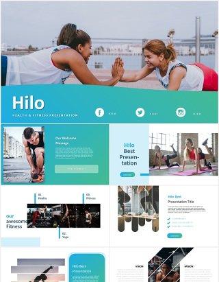 蓝色运动健身锻炼国外PPT模板powerpoint template