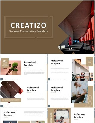 国外时尚简约PPT模板creatizo powerpoint template
