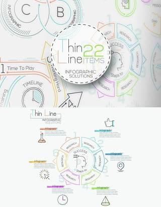 线性箭头饼图圆形时间线关系图AI矢量信息图表图标素材Thin Line Infographic Set