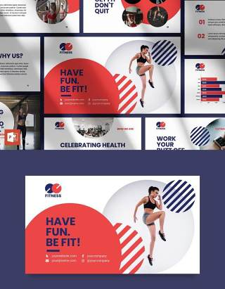 健身教练健美运动培训健身房宣传介绍PPT模板不含照片Fitness Trainer PowerPoint Presentation Template