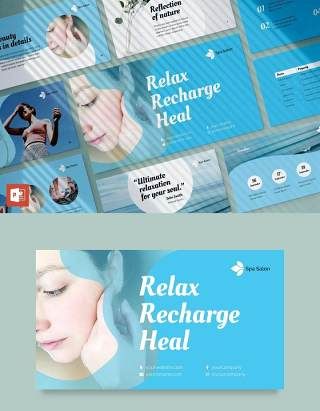 Spa沙龙美容养生宣传介绍PPT模板不含照片Spa Salon PowerPoint Presentation Template