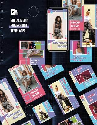 彩色亮丽手机竖版社交媒体杂志PPT版式模板不含照片Social Media PowerPoint Template