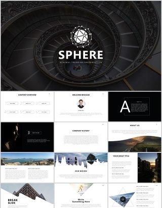 简约企业年度报告公司介绍PPT模板SPHERE