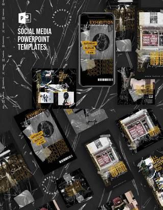 黑色竖版手机社交媒体PPT模板Social Media PowerPoint Template