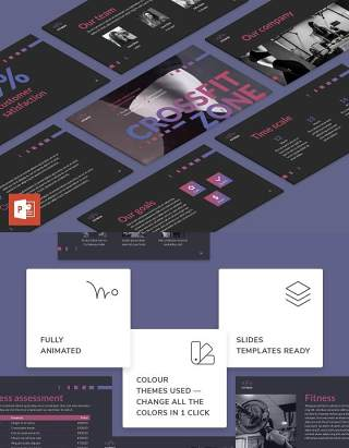 健身工作室健身房运动项目介绍宣传PPT模板不含照片Fitness Studio PowerPoint Presentation Template