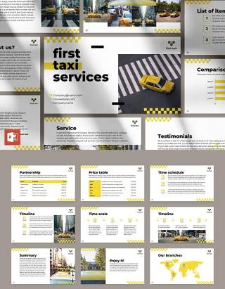 出粗车服务商业公司宣传介绍PPT模板不含照片Taxi Services PowerPoint Presentation Template