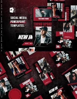 时尚大气手机竖版社交媒体PPT模板Social Media PowerPoint Template