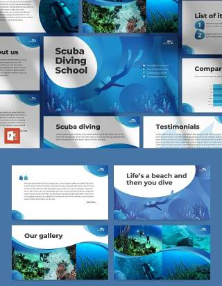 潜水培训学校宣传介绍PPT模板不含照片Diving School PowerPoint Presentation Template