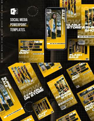 渐变黄色手机竖版社交媒体杂志PPT版式模板Social Media PowerPoint Template