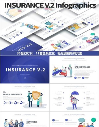 保险PPT信息图表幻灯片演示Insurance V.2 PowerPoint Infographics Slides