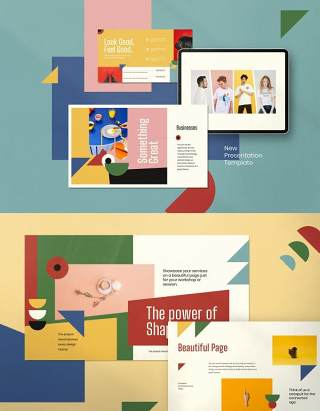彩色现代创意商业简报PPT演示模板不含照片MOUJIVE Presentation Powerpoint Creative Modern