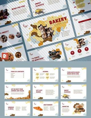 烘焙面包店甜品PPT版式模板Bakery PowerPoint Presentation Template