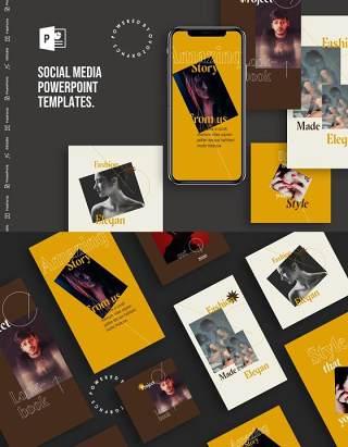简约手机移动端竖版社交媒体杂志PPT版式模板Social Media PowerPoint Template