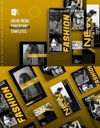 简约欧美风手机竖版社交媒体PPT模板Social Media PowerPoint Template