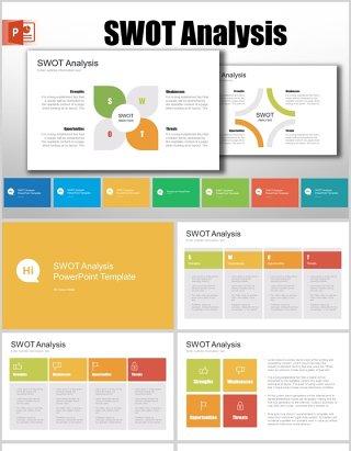 7套色系SWOT分析PPT模板信息图表元素swot analysis powerpoint