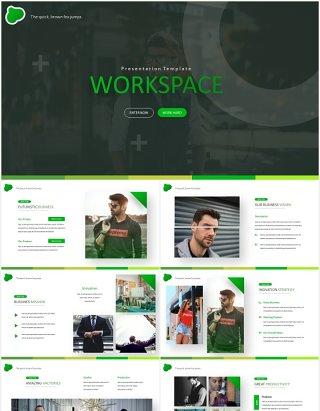 绿色商务工作计划总结汇报PPT国外模板Workspace - Powerpoint Template