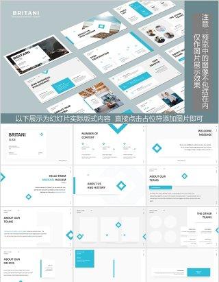 天蓝色公司介绍通用版式PPT排版设计模板