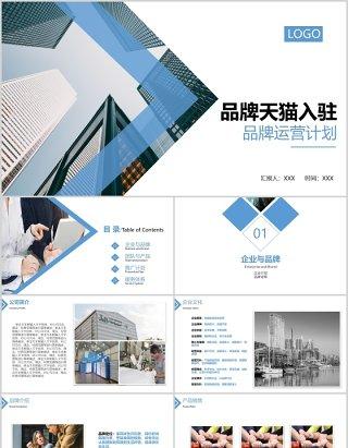 蓝色商务简约风格品牌天猫入驻品牌运营计划PPT模板