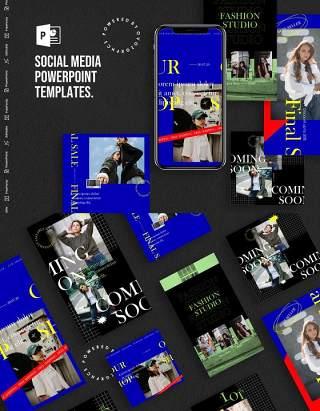 深蓝色手机竖版社交媒体杂志PPT版式模板不含照片Social Media PowerPoint Template