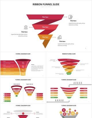 红色销售漏斗图数据分析PPT图表素材Funnel Slides V2 Powerpoint Template