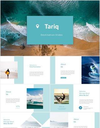 蓝色冲浪国外图片排版PPT模板tariq powerpoint template