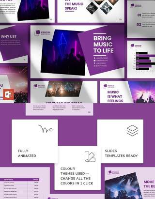 音乐节商业计划宣传介绍PPT模板不含照片Music Festival PowerPoint Presentation Template