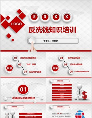 红色简约反洗钱知识培训PPT模板