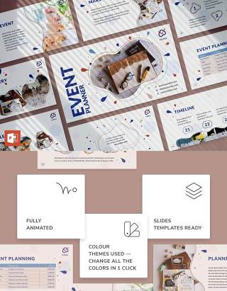 活动策划商业计划书PPT模板不含照片Event Planner PowerPoint Presentation Template