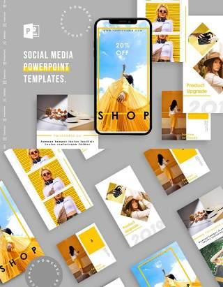简约简洁手机竖版社交媒体PPT模板Social Media PowerPoint Template
