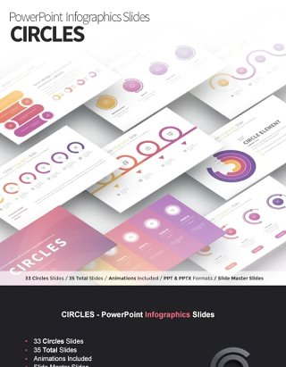 圆圈圆形环状PPT信息图表幻灯片演示 CIRCLES - PowerPoint Infographics Slides
