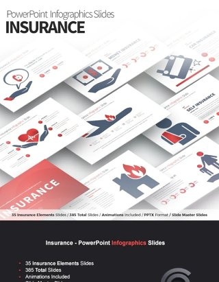 11套色系保险PPT信息图表幻灯片Insurance - PowerPoint Infographics Slides