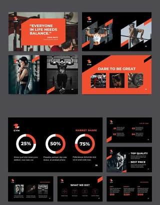 黑色健身房宣传介绍PPT模板不含照片Gym PowerPoint Presentation Template