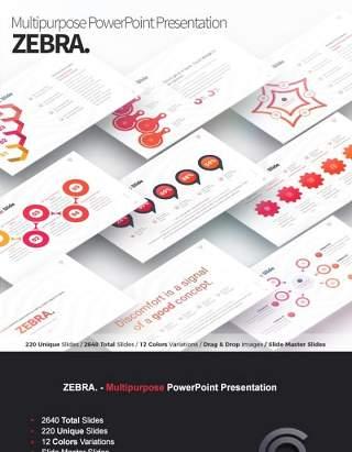 12套色系商务多用途PPT信息图表幻灯片演示Zebra - Multipurpose PowerPoint Presentation