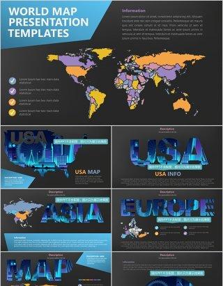 深色系世界地图PPT素材含多国家地图元素演示Maps Design