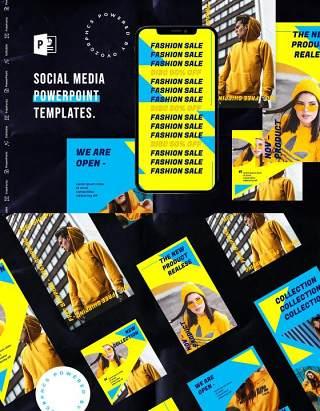 亮黄色手机竖版社交媒体杂志PPT版式模板Social Media PowerPoint Template