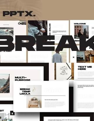 简约简洁商业商务公司介绍汇报PPT模板不含照片Break Powerpoint Business Corporate