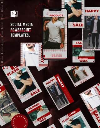 简约手机竖版社交媒体杂志PPT版式模板不含照片Social Media PowerPoint Template