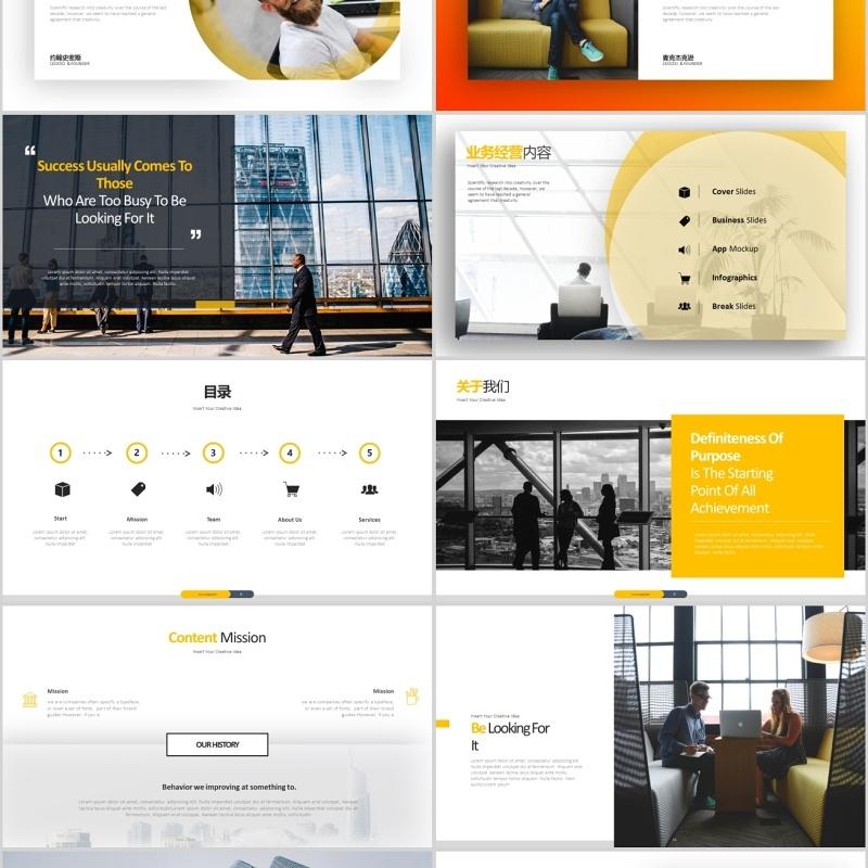 原创欧美风橙色创意公司简介营销计划PPT模板