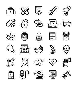 医疗线条线性矢量图标UI素材icon