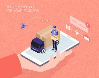 未来包裹递送服务生活场景扁平2.5D插画网页UI插图APP设计AI矢量设计素材