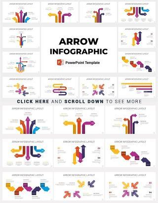 20套完整配色箭头PPT信息图矢量元素